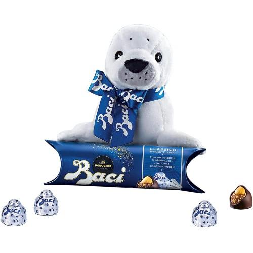 Regalo di San Valentino, peluche foca e Baci Perugina, tubetto da 37,5g