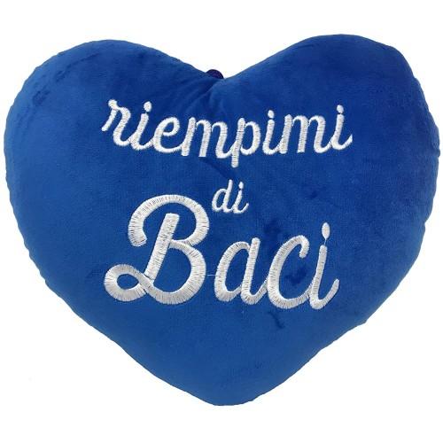 Peluche cuore blu, Riempimi di baci, per San Valentino