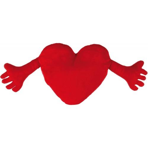 Peluche cuscino cuore con mani, colore rosso, idea regalo