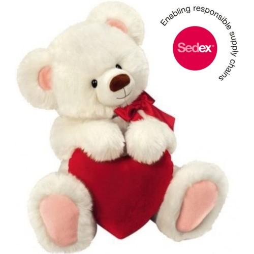 Peluche orsacchiotto bianco con cuore, da 30 cm, Original Honey Bear®