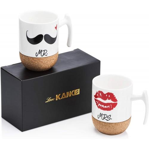 Tazze Mr and Mrs in ceramica, base sughero, idea regalo San Valentino