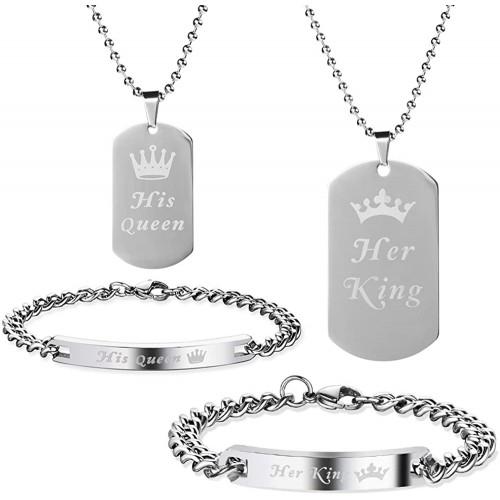 Set Coppia braccialetto e  collane San valentino, idea regalo