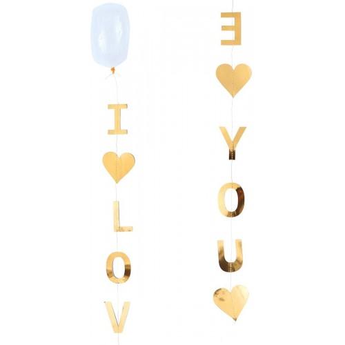 Festone i Love You San Valentino, carta oro, banner pendente
