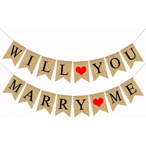 Striscione di iuta per San Valentino, Will You Marry Me