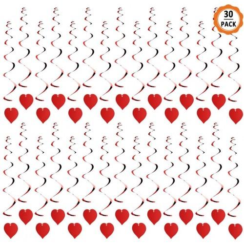 Set 30 Festoni pendenti a spirale cuore rosso, per feste romantiche