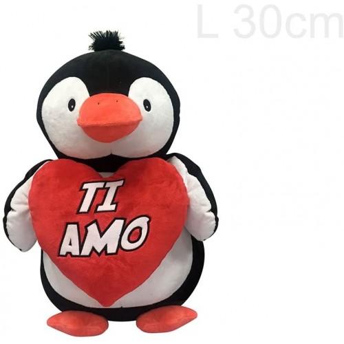 Peluche pinguino con Cuore TI AMO, da 30 cm, idea regalo