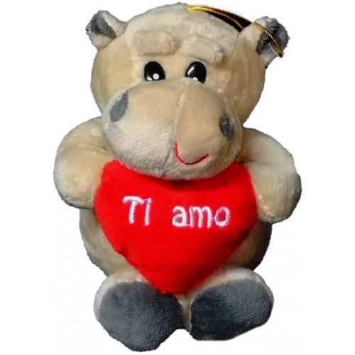 Peluche Ippopotamo con cuore e scritta Ti Amo, idea regalo San Valentino