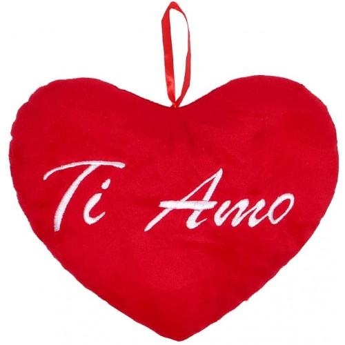 ❤️ Cuscino Peluche cuore con scritta TI AMO, da 26 cm, idea regalo