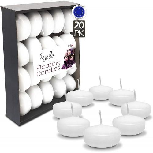 Set da 20 Candele galleggianti bianche da 5,1 cm, per feste