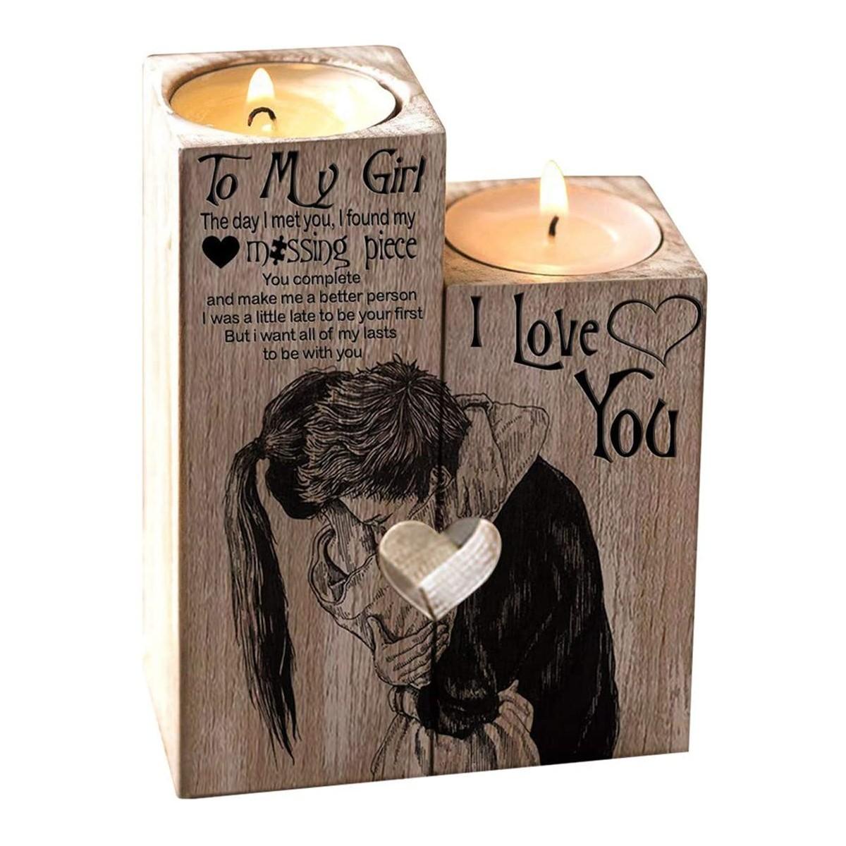 Portacandele in legno San Valentino, idea regalo romantico