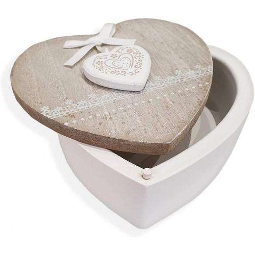Scatola portaoggetti forma Cuore di legno, confezione regalo