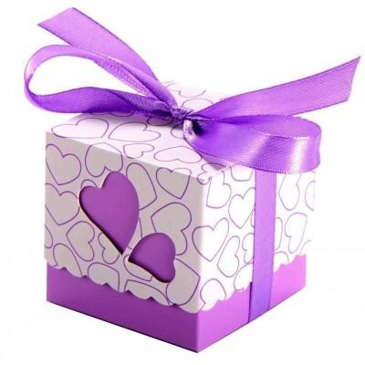 Set 50 scatole con cuore viola, per regali o bomboniere