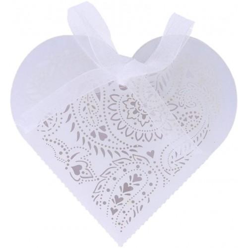 Set 20 scatole regalo forma cuore con nastrino, colore bianco