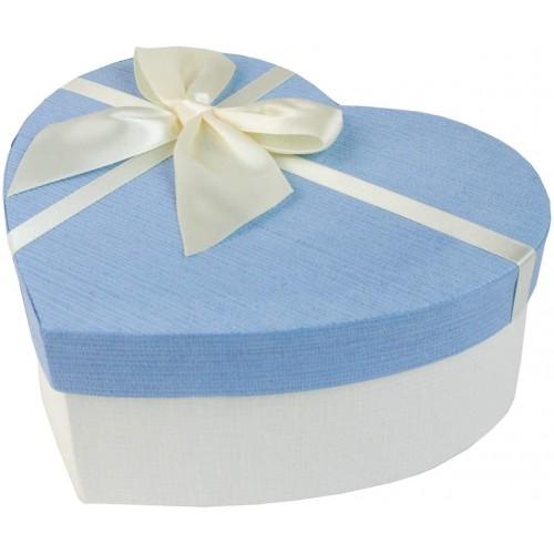 Scatola Regalo Cuore bianca e celeste, con nastrino, per regali romantici