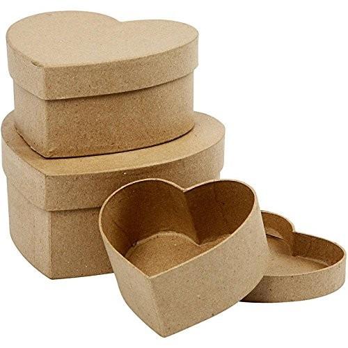 Set di 3 scatole in cartone a forma di cuore, per confezioni regalo
