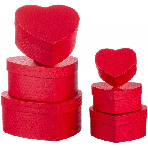 Set 6 Scatola regalo a forma di cuore in cartone, misure verie