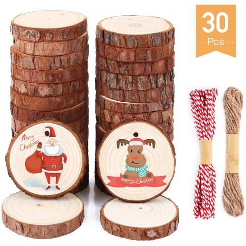 Set 30 sotto bicchieri in legno natalizi, per la tavola