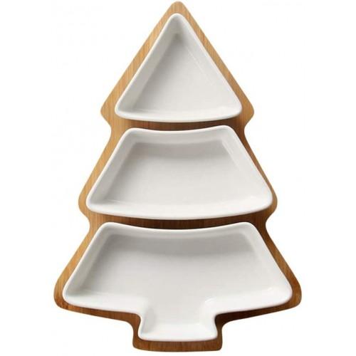 Piatto forma albero natale in ceramica, vassoio per Natale