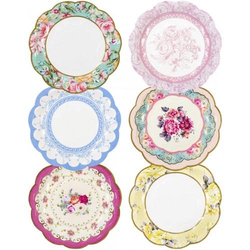 Set da 12 Piatti dessert stampa Floreale Vintage, Natalizi, da 18 cm