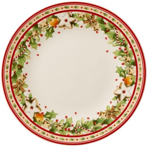 Piatto Dessert Natalizio in porcellana da 21.5 cm, decorazione originale