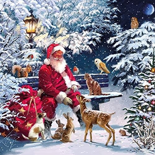 Set 20 tovaglioli natalizi con Babbo Natale nella foresta