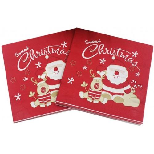 Set da 20 Tovaglioli di Natale Merry Christmas, decorazioni tavola