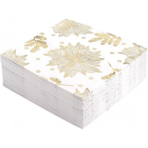 Set da 60 Tovaglioli di carta natalizi, con fiori dorati