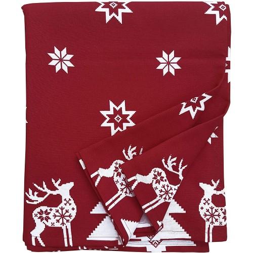 Tovaglia rossa con stelle bianche in 100% cotone, per Natale