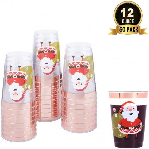 Set 60 Bicchieri Natalizi con bordo oro e rosa, da 350 ml, per feste