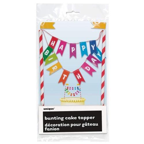 Unique Party 49578 - Bandierine per Torte di Compleanno con Nastri Arcobaleno