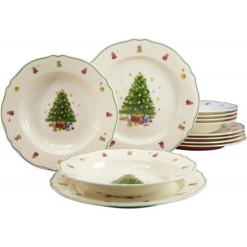 Servizio di 12 piatti con stampa Albero di Natale, in porcellana