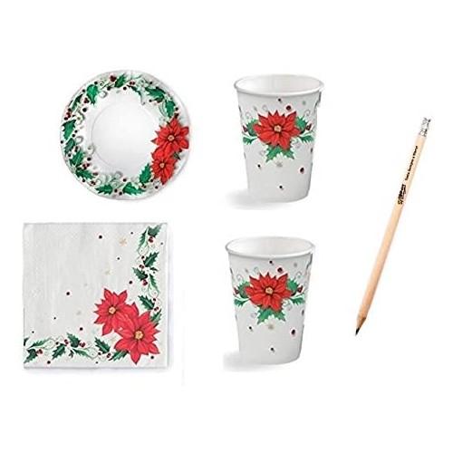 Kit per 20 ospiti tema stella di Natale, coordinato tavola