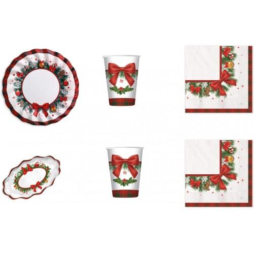 Kit per 16 ospiti Christmas Kilt, tavola natalizia