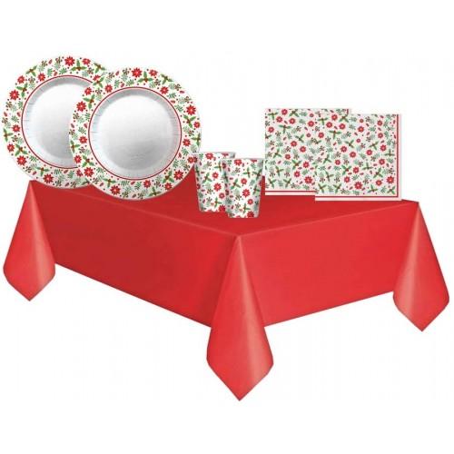 Kit per 40 ospiti cena di Natale, coordinato tavola