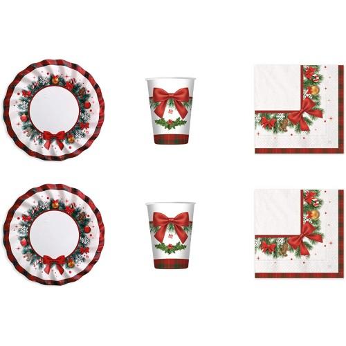 Kit per 24 persone di Natale, decorazioni tavola eleganti usa e getta