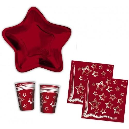 Kit per 20 ospiti Stella rossa di Natale, coordinato usa e getta