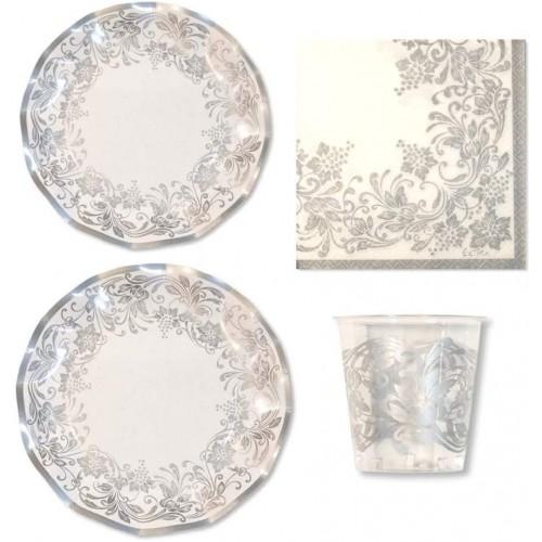 Kit per 10 persone tema floreale argento per Natale