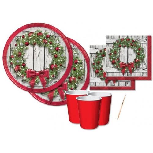 Kit per 16 ospiti tema Ghirlanda di Natale, coordinato tavola