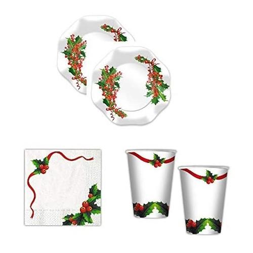 Kit 8 ospiti Bianco Natale, decorazioni tavola usa e getta