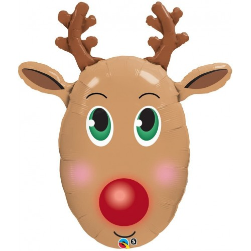 Palloncino renna dal naso rosso per Natale, in alluminio