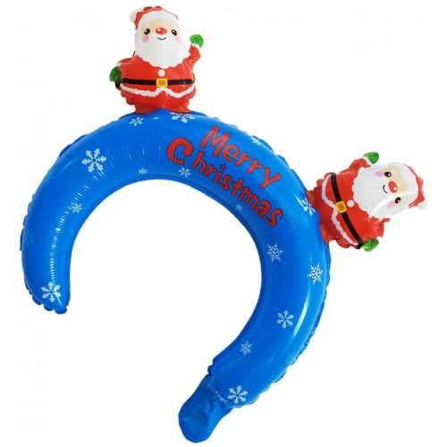 Set 24 palloncini Buon Natale, cerchietto con Babbo Natale