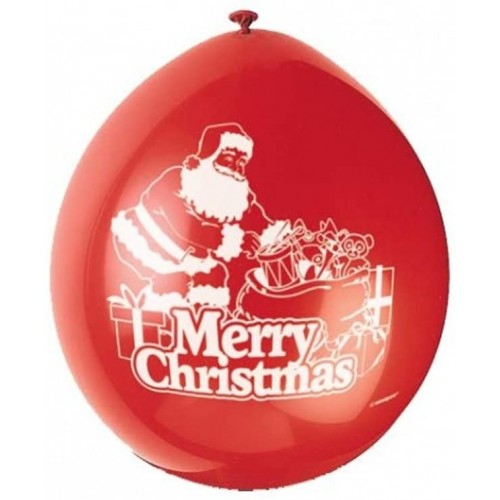 Set 10 palloncini in lattice rossi con stampa Babbo Natale