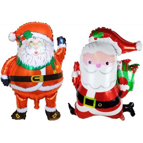 Set 2 Palloncini di Babbo Natale in mylar, alluminio