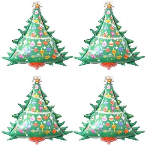 Set da 4 palloncini abete, Albero di Natale, in alluminio, per feste