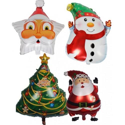 Set 4 palloncini di Natale con pupazzo, Babbo natale, Albero, Elfo