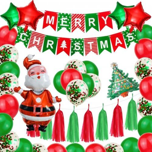 ❤ Set palloncini e decorazioni Natale, 47 pezzi