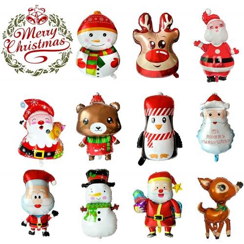 Set 11 palloncini giganti di Natale: Babbo Natale, Pupazzo di neve, Renna
