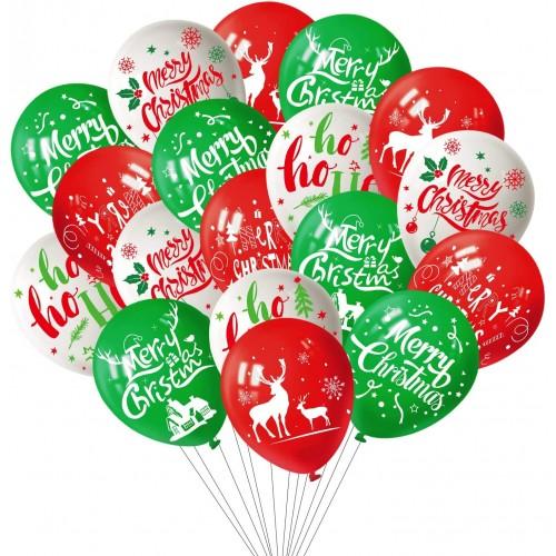 Set 100 palloncini Festa di Natale, in lattice, assortiti