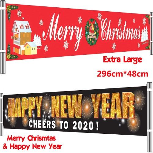 Set 2 Banner orizzontali di Buon Natale e Capodanno, decorazioni