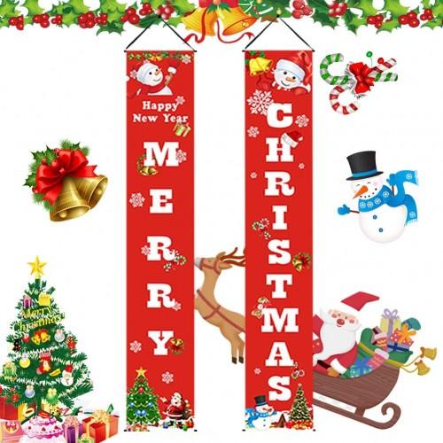 Set 2 Banner di benvenuto, tema Marry Christmas, decorazioni per ingresso